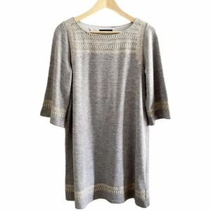 THML Women's Heather Gray Embroidered Dress Tunic